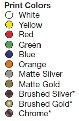 Available Print Colors for Stock Auto Nameplates