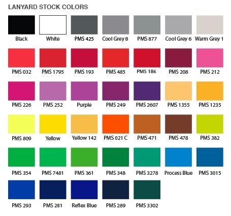 Standard Lanyard Colors