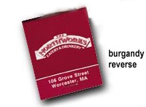 Reverse Burgundy Match Books with Customized Advertising Message
