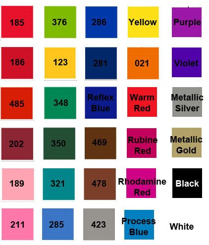 Color Chart for Light Pens