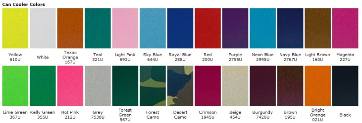 Koozie Color Chart