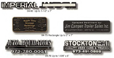 Auto Nameplates Stock Designs