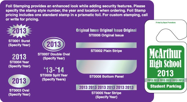 Foil Stamping Option on Hang Tag Parking Permits