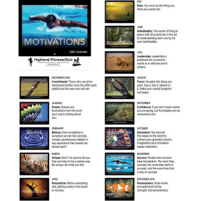 Motivations 2021 Calendar Monthly Scenes