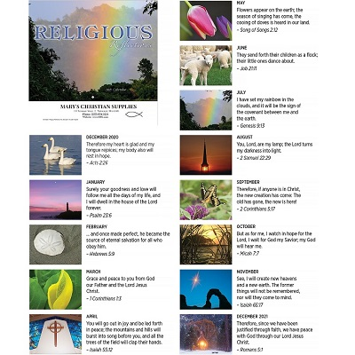 Religious Reflections 2021 Calendar Monthly Scenes
