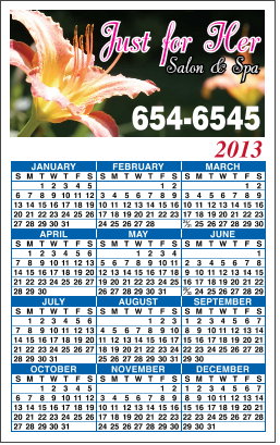 3-1/2 inch x 5-5/8 inch Calendar Magnet with Calendar on the Top