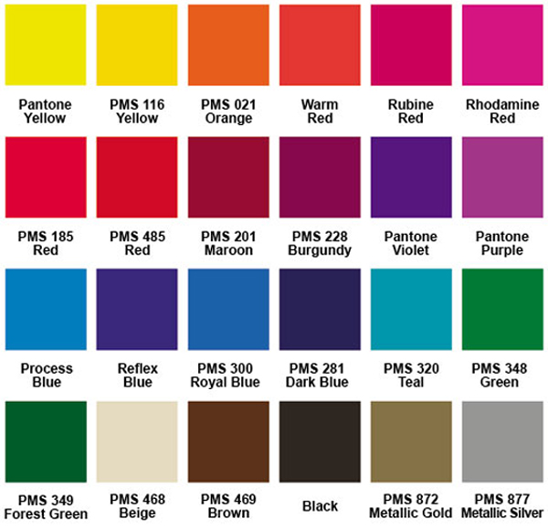 Color Chart for Personalized Hand Fans