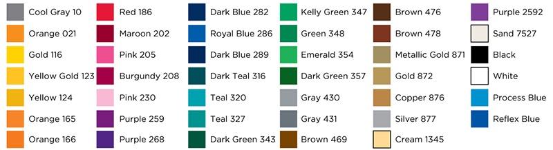 Auto Tumbler Standard Imprint Colors